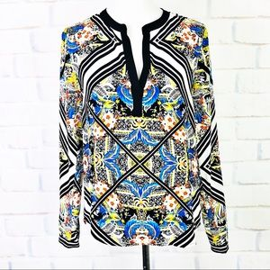 12th Street By Cynthia Vincent Silk Printed Blouse